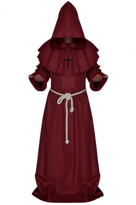 Wine Red Medieval Friar Hooded Robe Monk Cross Necklace Renaissance Costume