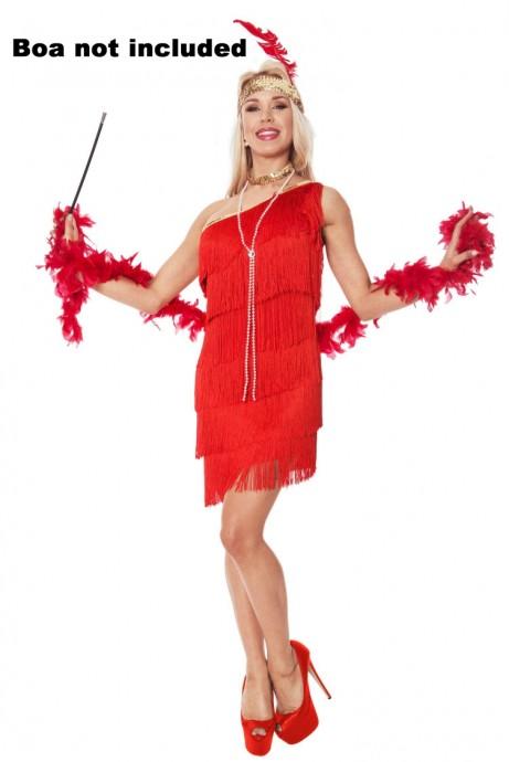 Ladies 20s 1920s Charleston Flapper Red Costume