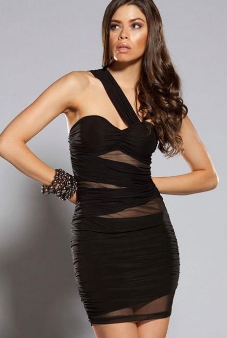 Ladies One Shoulder Black Mini Dress