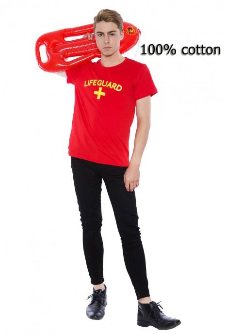 Mens Baywatch Beach Lifeguard Uniform T-shirt Fancy Dress Costume Outfits