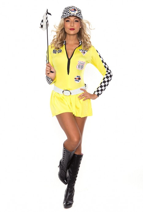 Sports Costumes - Yellow Sexy Miss Indy Super Car Racer Racing Sport Driver Super Car Grid Girl Fancy Costume Outfit