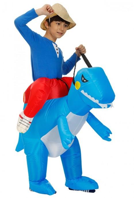 Kids blue Dinosaur t-rex Blow Up inflatable costume side view  tt2022-2
