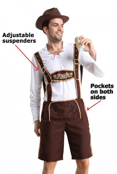 Mens Lederhosen Bavarian Oktoberfest Costume with Hat and Socks details lh202N