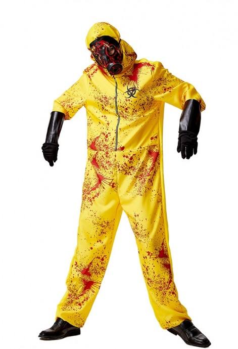 Adult Yellow Biohazard Hooded Costume tt3122