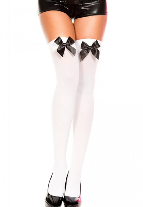 White Tight High Stockings With Black Bow