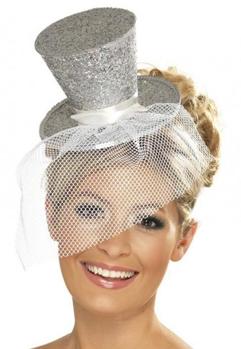 SILVER Fever Mini Top Hat on headband Ladies Mini Glitter Top Hat