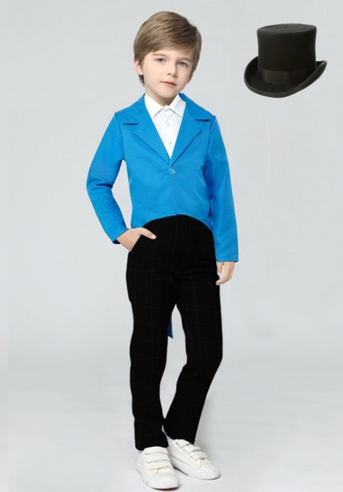 Blue Kids Tailcoat Magician With Hat