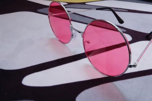Pink Retro 80s Round Frame Glasses 1980s
