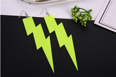 Glitter lightning EARRINGS PLASTIC ROCK star 80s COSTUME Fluro Neon Costume Accessary