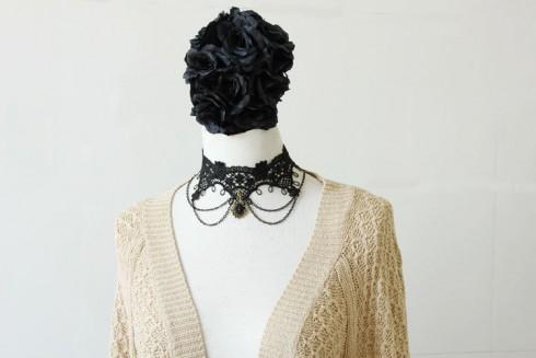 Women Vintage Victorian Gothic Lolita Lace Necklace Collar Choker Halloween Costume