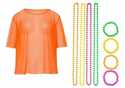 Orange String Vest Mash Top Net Neon Punk Rocker Fishnet Rockstar 80s 1980s Costume  Beaded Necklace Bracelet Accessory