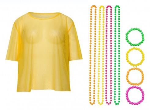 Yellow String Vest Mash Top Net Neon Punk Rocker Fishnet Rockstar 80s 1980s Costume Beaded Necklace Bracelet Accessory