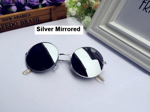Silver Mirrored Glasses 1980s Round Frame