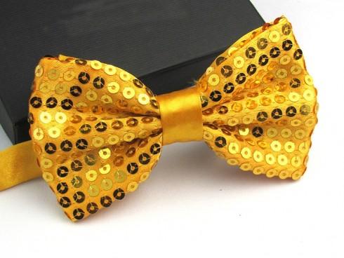 Gold Glitter Sequin Clip-on Bowtie Dance Party Men Women Boys Girls Bow Tie Costume Accessory