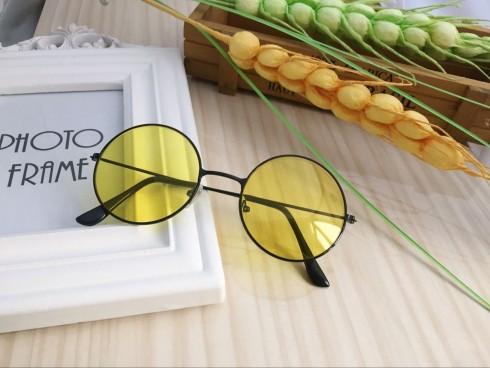 Yellow Retro 80s Round Frame Glasses 1980s