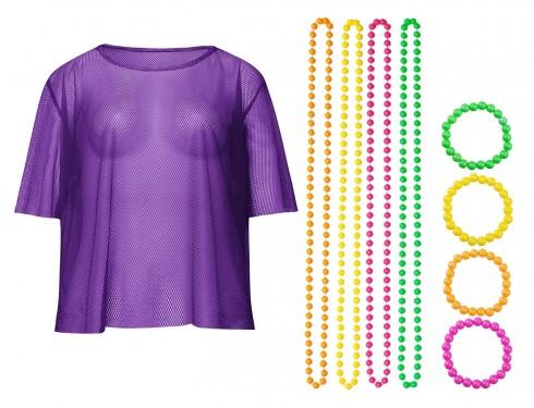 Purple String Vest Mash Top Net Neon Punk Rocker Fishnet Rockstar 80s 1980s Costume  Beaded Necklace Bracelet Accessory