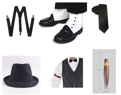 Black Mens 1920s 20s Gangster Set Hat Braces Tie Cigar Set Gatsby Costume Accessories