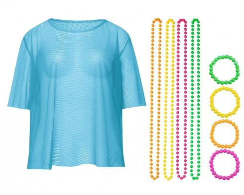 Blue String Vest Mash Top Net Neon Punk Rocker Fishnet Rockstar 80s 1980s Costume  Beaded Necklace Bracelet Accessory