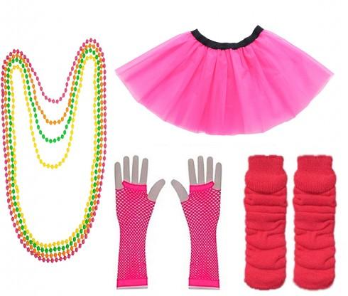 Dark Pink Coobey Ladies 80s Tutu Skirt Fishnet Gloves Leg Warmers Necklace Dancing Costume Accessory Set