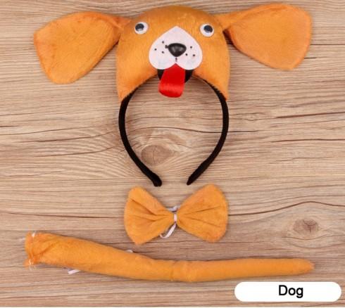 Dog Headband Bow Tail Set Kids Animal Farm Zoo Party Performance Headpiece