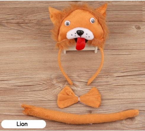 Lion Headband Bow Tail Set Kids Animal Farm Zoo Party Performance Headpiece