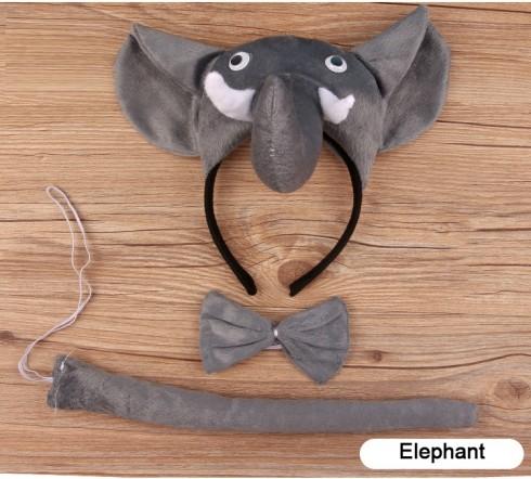 Elephant Headband Bow Tail Set Kids Animal Farm Zoo Party Performance Headpiece
