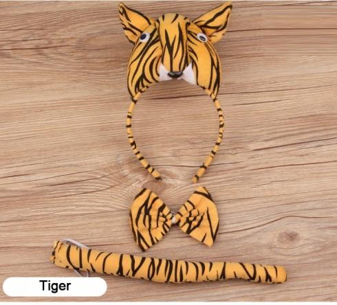 Tiger Headband Bow Tail Set Kids Animal Farm Zoo Party Performance Headpiece