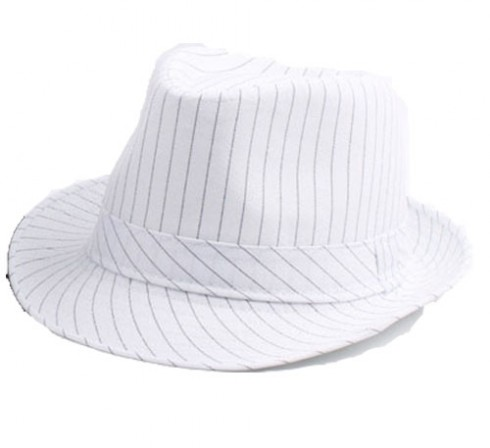 White Adult 1920's 20s Gangster Hat Trilby Al Capone Gatsby Fancy Dress Costume Accessory