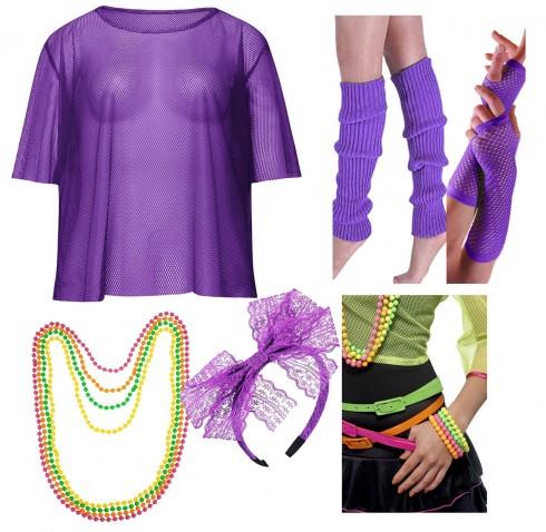 Purple String Vest Mash Top Set