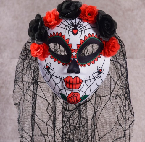 Day of the Dead Mask Adults Halloween Sugar Skull Fancy Dress Accessory Skeleton