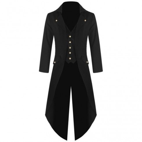 Black STEAMPUNK TAILCOAT JACKET Magician