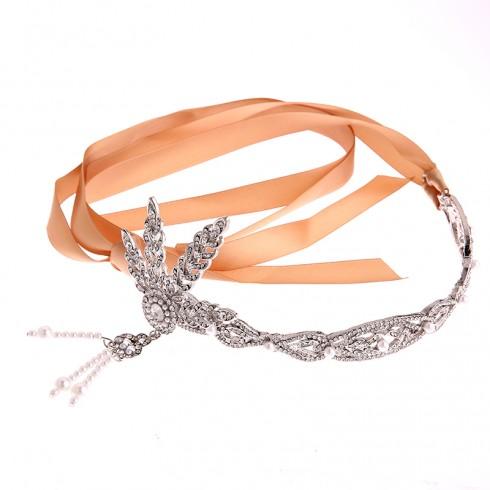 Silver 1920s Headband & bracelet ring Vintage Bridal Great Gatsby Flapper Headpiece gangster ladies