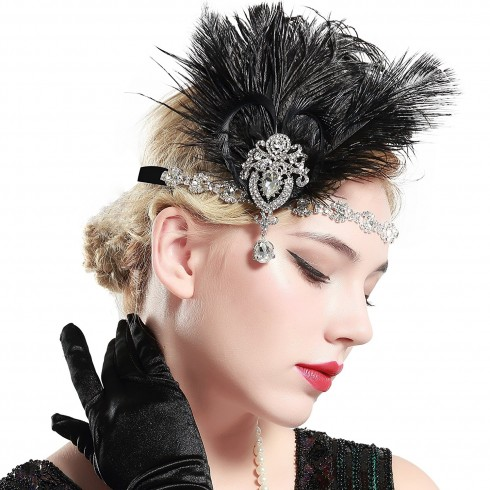 1920s Headband Black Feather Vintage Bridal Great Gatsby Flapper Headpiece gangster ladies