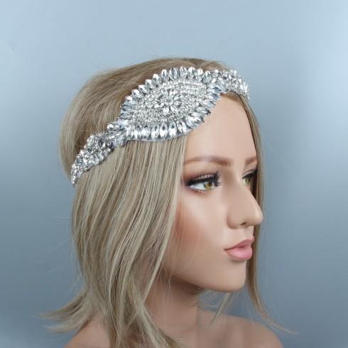 1920s Headband Vintage Bridal Great Gatsby Flapper Headpiece gangster ladies Rhinestone