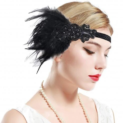 1920s Headband Black Feather Vintage Bridal Great Gatsby Flapper Headpiece gangster ladies