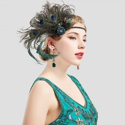 1920s Headband Green Feather Flapper Headpiece