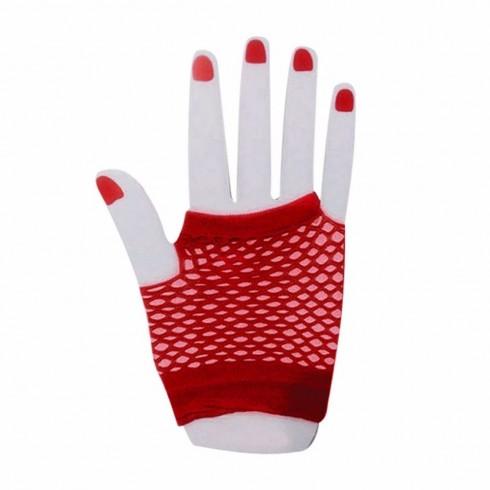 Red Fishnet Gloves Fingerless Wrist Length 70s 80s Women's Neon Party Dance