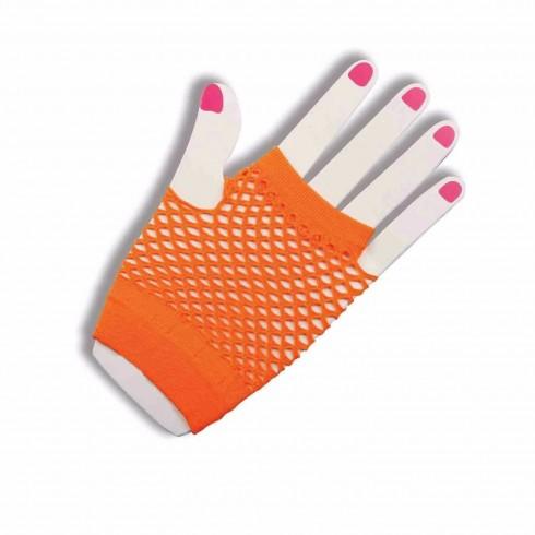 Orange Fishnet Gloves Fingerless Wrist Length 70s 80s Women's Neon Party Dance