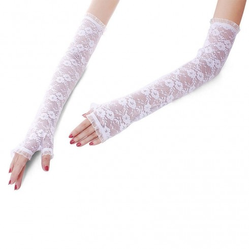 White Gloves Fingerless Over Elbow Length 70s 80s Women's Lace Party Dance Costume