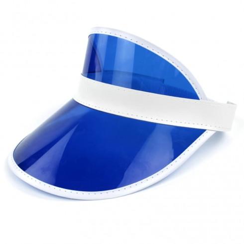 Blue Unisex Sun Visor Cap Golf Fancy Dress Colour Stretch Poker 80's Rave Headband