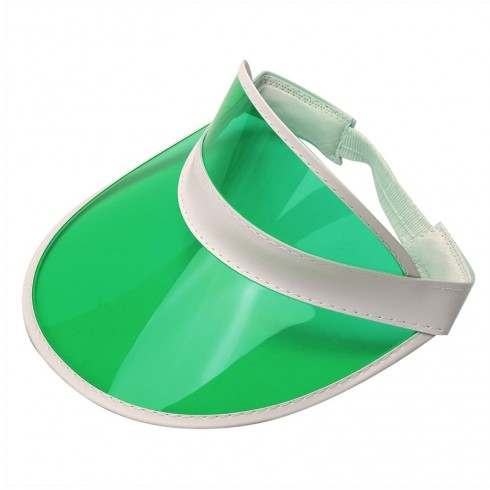 Green Unisex Sun Visor Cap Golf Fancy Dress Colour Stretch Poker 80's Rave Headband