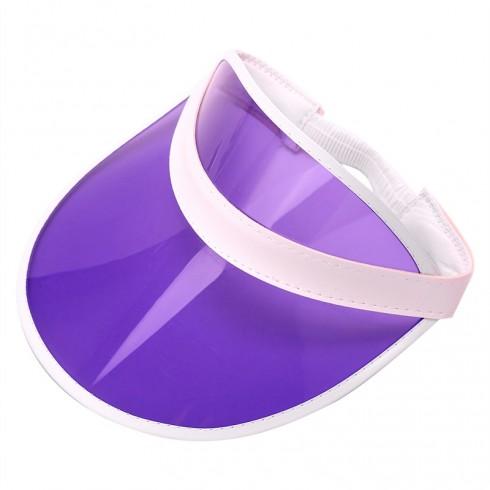 Purple Unisex Sun Visor Cap Golf Fancy Dress Colour Stretch Poker 80's Rave Headband