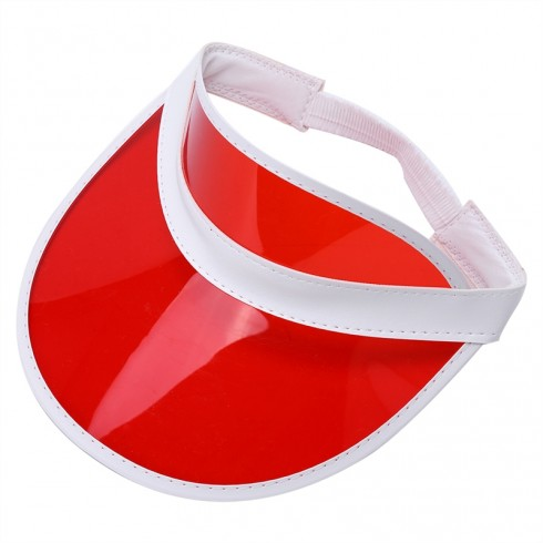 Red Unisex Sun Visor Cap Golf Fancy Dress Colour Stretch Poker 80's Rave Headband
