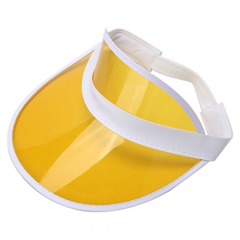 Yellow Unisex Sun Visor Cap Golf Fancy Dress Colour Stretch Poker 80's Rave Headband