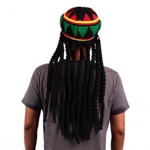 Rasta Beret Crochet Dreadlocks Headwear Knitted Jamaica Luau Hawaii Hat Wig Fancy Dress Cos Costume Beanie Cap Chapeau Déguisement Béret