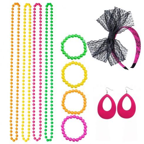 Coobey 80s Neon Bracelet Necklace Bow Headband Lighting Earring