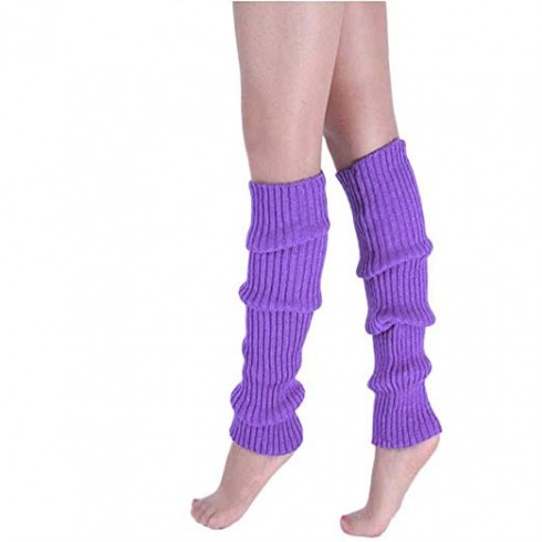 Purple Licensed Womens Pair of Party Legwarmers Knitted Dance 80s Costume Leg Warmers