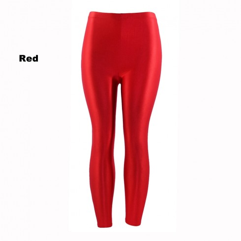 Red 80s Shiny Neon Costume Leggings Stretch Fluro Metallic Pants Gym Yoga Dance