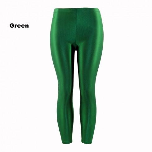 Green 80s Shiny Neon Costume Leggings Stretch Fluro Metallic Pants Gym Yoga Dance