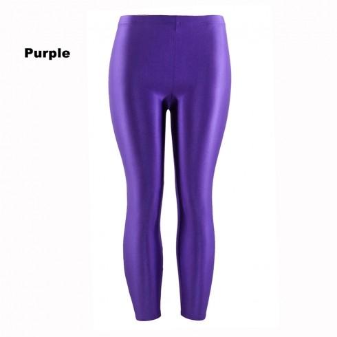 Purple 80s Shiny Neon Costume Leggings Stretch Fluro Metallic Pants Gym Yoga Dance